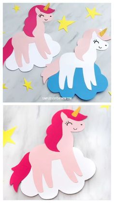 DIY Unicorn Card Craft For Kids - Crafts for kids - İdeen Fun Activities For Kids, Easy Crafts For Kids, Craft Activities, Diy For Kids, Fun Crafts, Arts And Crafts, Paper Crafts, Cards For Kids, Card Making For Kids