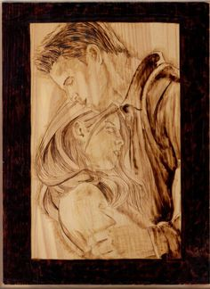 pyrography   Buffy and Angel Pyrography by wickedtiger86