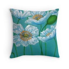 White Poppies Throw Pillow by Cherie Roe Dirksen - $23.14