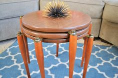 Vintage Mid Century Modern Round Stacking Tables with Formica Tops and Wood Legs | Set of 3 Round Nesting Tables | Set of 3 Round End Tables by ChalksOLot on Etsy
