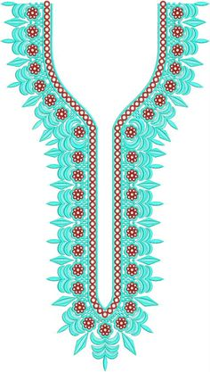 Neck / Gala Embroidery Design Border Embroidery Designs, Embroidery Suits Design, Embroidery Patterns, Folder Design, Lahenga, Pattern Fabric, Dress Designs, Turquoise, Nike