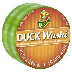 Duck Brand Washi Tape, Green Plaid