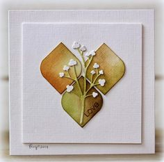 By Birgit Edblom. Punch or die cut 3 squares from linen cardstock. Use a corner rounder on two opposite corners. Sponges with green & brown inks. Die cut a flower from linen cardstock & sponge stem with green ink. Arrange rounded squares on a white linen cardstock panel. Layer vie-cut flower on top. Stamp small sentiment. Attach panel to white linen cardstock base.