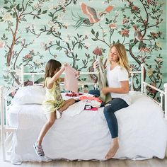 Bird and garden mural - mint green - framed mural - white vintage daybed