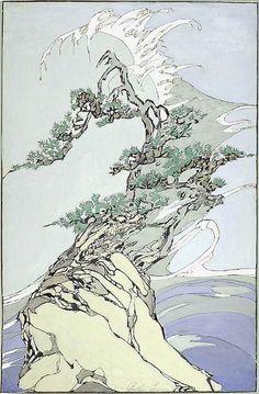 Woodblock prints, Bertha Lum :: The Wave