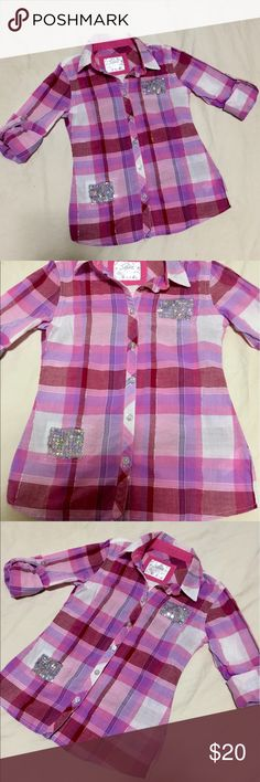 Girl's button up shirt LIKE NEW girl's button up plaid shirt; size 7 (multiple sizes listed for easier searching).  See photo for more details on material Justice Shirts & Tops Blouses