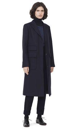 WOMEN AUTUMN WINTER 15 - Dark navy wool City Coat, navy silk/cotton Cuffed T-Shirt, black merino wool Fine Roll Neck, dark navy moleskin Kilt Buckle Trouser, black leather Chelsea Shoe