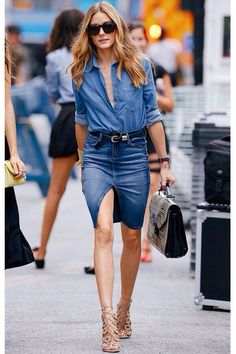 Olivia Palermo | Work a denim shirt back with your denim skirt, choosing a darker denim skirt will minimise your hips and thighs.