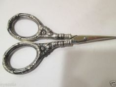 Ornate Antique Sterling Silver Sewing Scissors   eBay