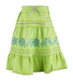 Embroidered pieced peasant skirt