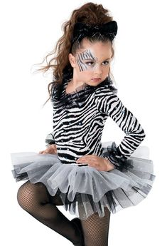 Long sleeve zebra print leotard has all-over sparkle foil dots Glitter tulle ruffles on the neckline and cuffs Made in USAIncludes : Ruffle for hair. Optionals : Cat Headband Zebra Print Leggings and/or Glitter Tulle Tutu Zebra Halloween Costume, Zebra Costume, Tutu Costumes, Costume Ideas, Carnaval Kids, Le Roi Lion, Costume Collection, Dance Outfits, Kids Fashion
