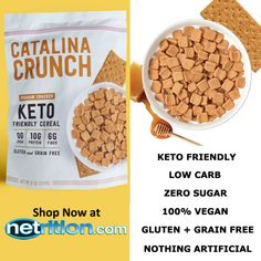 Catalina Crunch Keto Friendly Cereal is a low carb, plant-based, artisanal cereal that's made one batch at a time. Catalina Crunch contains a non-GMO blend of seven plant proteins and fibers designed to keep you full longer and support gut health. Catalina Crunch Keto Friendly Cereal contains no artificial sweeteners, flavors or colors, and is sweetened with monk fruit.