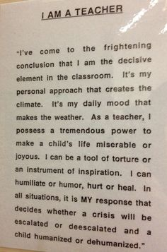 """This quote from the esteemed Haim Ginott is one that we must keep in our minds and hearts as we work with young children, especially when considering the """"classroom/ behavior management"""" policies and practices that we use. Please read and consider:) #teacherquotes"""