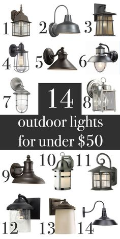 Farmhouse, industrial, craftsman, rustic outdoor wall lights under. Garage Lighting, Porch Lighting, Rustic Lighting, Industrial Lighting, Home Lighting, Lighting Ideas, Front Door Lighting, Craftsman Lighting, Cabin Lighting