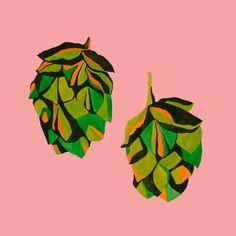 Beer Hops Risograph Print by Emily Edwards Plant Illustration, Botanical Illustration, Digital Illustration, Fantasy Illustration, Hops Plant, Inspirational Artwork, Inspiring Art, Floral Illustrations, Illustrations Posters