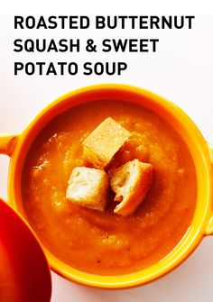 Roasted Butternut Squash and Sweet Potato Soup topped with Cinnamon ...