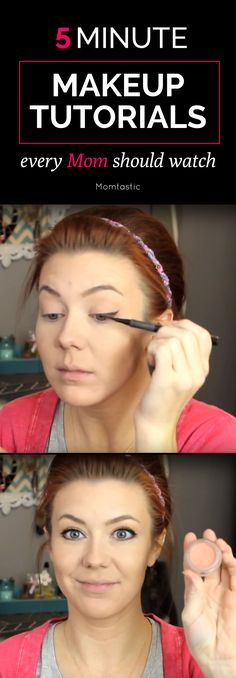 Five Minute Makeup Tutorials Every Mom Should Watch  - these helpful five minute makeup tutorials are easy and will totally save you on those hectic days where your morning has totally escaped you.