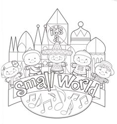 fantasyland its a small world disneyland walt disney world resort magic kingdom coloring page