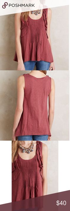 "Anthropologie pleated ruffle tank Anthropologie Deletta pleated ruffle tank. Reddish brown color. Front pleating. Asymmetrical hem. Loose fit. Size small, but can easily fit a medium as well. Underarm to underarm 18"", length 24""-26"". 100% cotton. Anthropologie Tops Tank Tops"