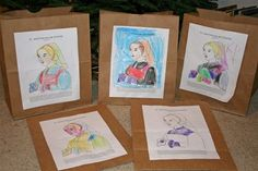 Wreath I: Love of Neighbor - St. Francis De Chantal  Paper bags filled with food for the poor. Great idea!