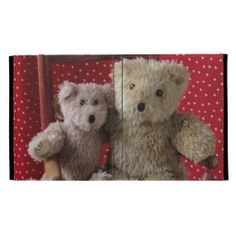 two teddy bears in a red chair iPad folio case #TeddyBears, #TeddyBearIpadCase, #GirlyIpadCase, #CuteIpadCase
