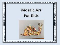 A creative mosaic art lesson that uses Scholastic Book orders, magazines or other colored paper. It is perfect for fine motor practice. It can be as complex or as easy as you make it for your students. You can use a template that supports your science, social studies or holiday unit.