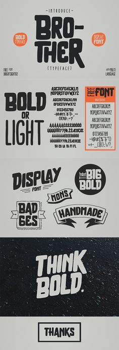 Brother - Brother is a decorative font design published by giemons. Graphic Design Fonts, Graphisches Design, Lettering Design, Graphic Design Inspiration, Vector Design, Hand Lettering, Cover Design, Cool Typography, Vintage Typography