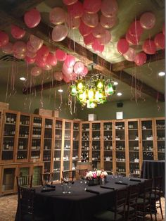Ceiling Balloons for a 40th Birthday Luncheon - www.idealpartydecorators.com