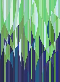 Flaming Stripes - Green Mural - Kate Ward Thacker| Murals Your Way