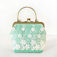 Green Floral Flower Chains Hasp Lace Fresh PU Patent Leather Shell Shaped Bag Mouth Gold Totes Lady Women's Handbag Evening Bags