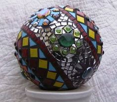Bowling ball repurposed as gazing ball
