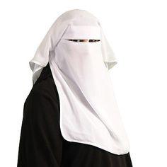 Satin Niqab - Dreilagig - WEISS - Islamische Kleidung - 11-2002
