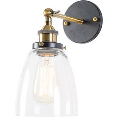 Shop for Barbara Black and Bronze Clear Glass Edison Wall Lamp w/ light bulb. Get free delivery On EVERYTHING* Overstock - Your Online Wall Lighting Store! Get in rewards with Club O! Vanity Lighting, Wall Sconce Lighting, Kitchen Lighting, Bathroom Lighting, Farmhouse Lighting, Ceiling Lighting, Ceiling Fans, Bedside Lighting, Home Renovation