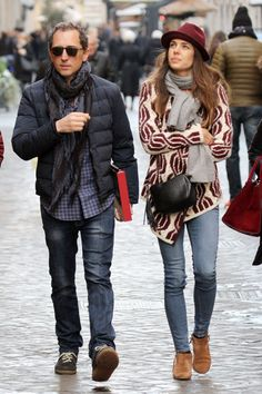 January 2015 - Gad Elmaleh and Charlotte Casiraghi, in Cardinal cardigan by the French brand Ba&sh and ankle boots by Chelsea Crew, in Rome