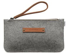 Minimalist Wool felt clutch- iPhone wallet.Size M.Durable-Handmade in Switzerland- Silver grey - classy  Design-Leather strap
