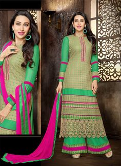 http://www.sareesaga.in/index.php?route=product/product&product_id=17708 Work	:	Embroidered Resham Work	 Style	:	Palazzo Suit Shipping Time	:	10 to 12 Days	 Occasion	:	Party Festival Fabric	:	Faux Georgette	 Colour	:	Green For Inquiry Or Any Query Related To Product,  Contact :- +91 9825192886