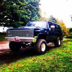This my 1988 k5 blazer that is a total beast!!!! My girlfriend loves to drive it, it's sitting 33x12.50, straight piped with custom cab lights and phantom grill