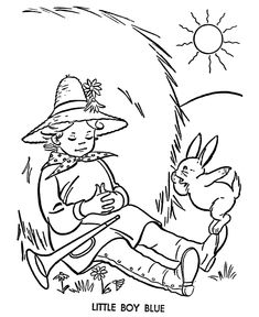 little boy blue story character coloring page