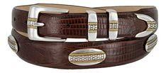 St. Andrews Gold - Genuine Italian Calfskin Leather Golf Dress Belt with Conchos