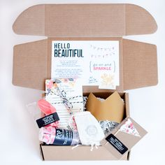 Find surprise wrap, token of appreciation baggage, token of appreciation keywords, ribbons and everything you need to keep almost everything organized Diy Beauty Care, Birthday Care Packages, Start The Party, Hello Beautiful, Beautiful Friend, One Balloon, Get Well Gifts, Party In A Box, Letterpress Printing