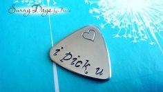 I Pick You Nickel Silver Guitar Pick Wedding by SunnyDaysByTracie