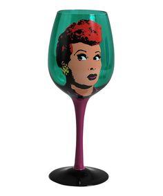 Look at this #zulilyfind! Green 15-Oz. Pop Art Lucy Wine Glass #zulilyfinds