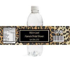 Leopard Bridal Shower Water Bottle Labels