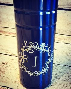 Etched stainless steel travel coffee mug. $20
