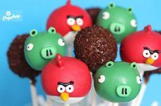 cakepop Angry Birds decoración fiesta evento infantil cumpleaños y comunión - kids children birthday communion party decoration miraquechulo