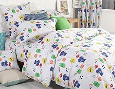 LELVA Sports Style Bedding Set Boys Bedding Kids Bedding for Boys Cotton Basketball Football Bedding Duvet Cover Set Twin Full Queen Full Flat Sheet * You can get more details by clicking on the image.