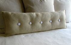 36 inch PARCHMENT Burlap with white buttons sofa or long bed pillow on Etsy, $65.00