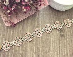 Tatting lace bracelet pdf pattern Medieval tile