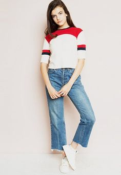Short Sleeve Color Block Knitted Top