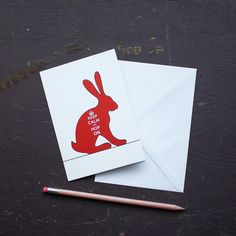Keep Calm Hare Greetings Card by flyingcheesetoastie on Etsy